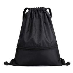 Cordon sacs à dos femmes hommes Portable en Nylon noir haute qualité épaule sac simplicité en plein air voyage sacs d'école