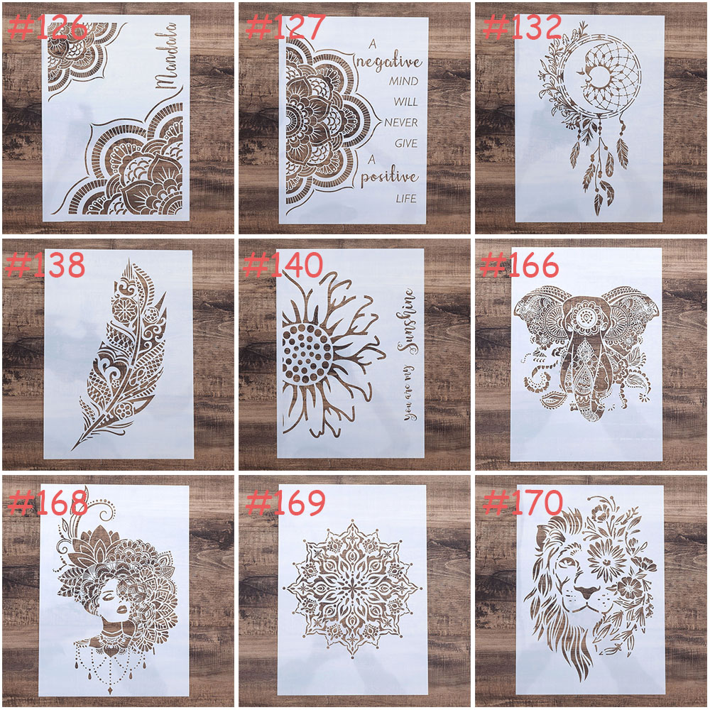 A4 A3 A2 Size DIY Craft Layering Mandala Stencil For Wall Painting Scrapbooking Stamping Album Decorative Embossing Paper Card S