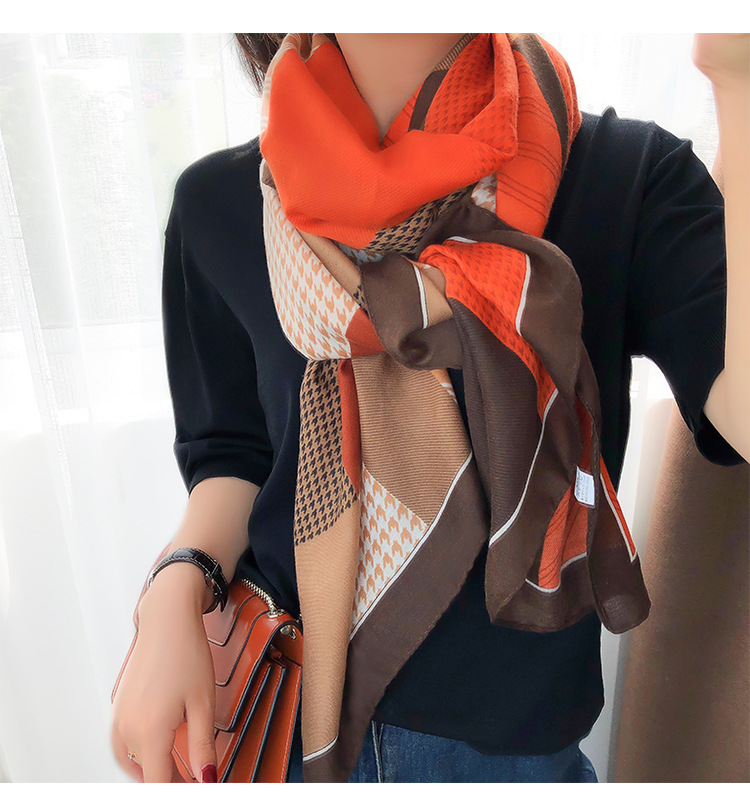 KYQIAO шарф женский Orange Winter Scarf Women Autumn Winter Spain Style Elegant Vintage Long Patchwork Scarf Muslim Hijab