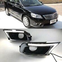 سيارة وامض 2 قطعة LED DRL النهار تشغيل أضواء لتويوتا كامري 2009 2010 2011 الضباب الخفيف مع الأصفر بدوره إشارة والأزرق