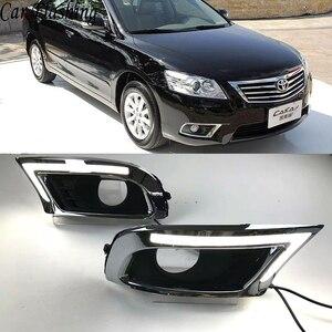 Image 1 - 자동차 깜박이 2Pcs LED DRL 낮 실행 조명 도요타 캠리 2009 2010 2011 안개 빛 노란색 차례 신호와 파란색