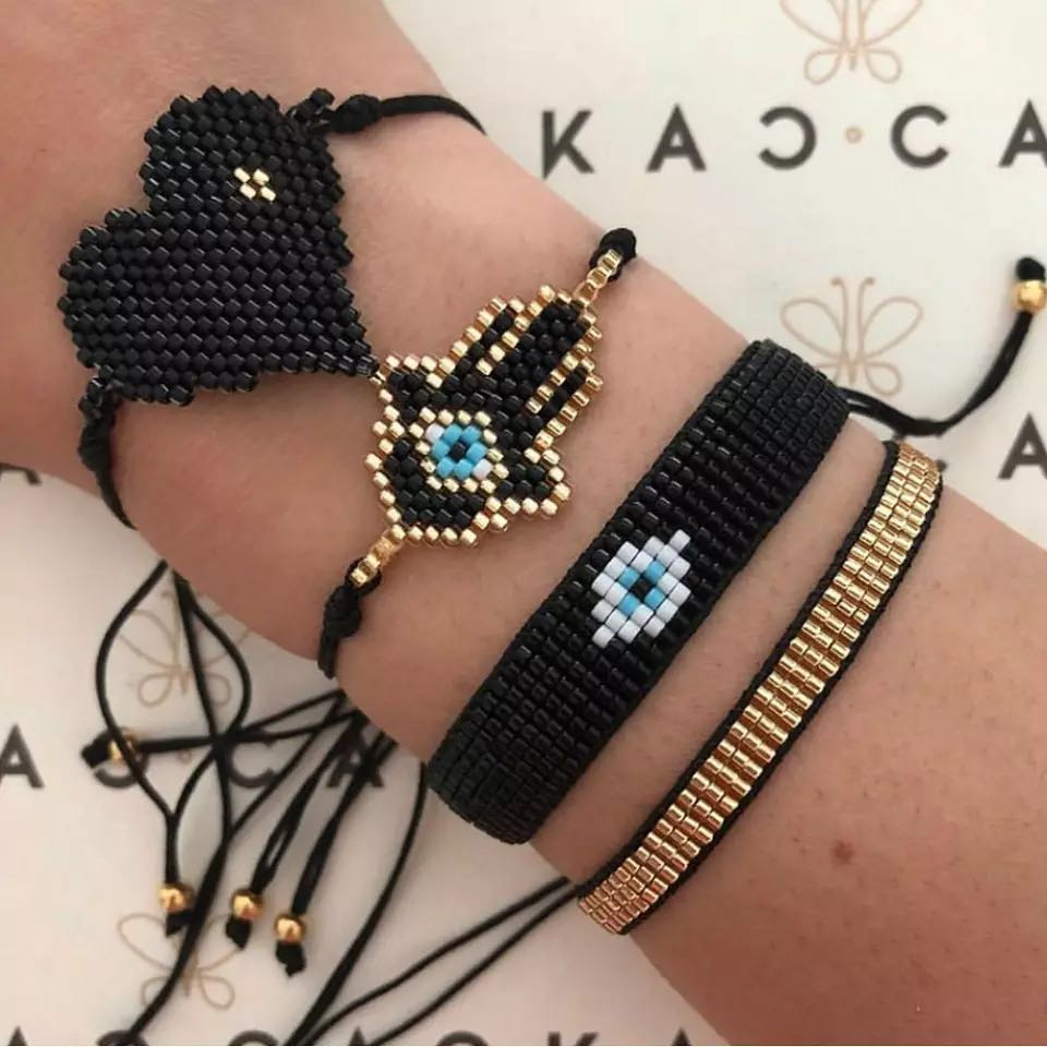 GRAPES Insta Fashion MIYUKI Bracelet Hamas Hand pulseras Men Tassel Eye Jewelry Adjustable Rope Chain Bracelets for Women Gift
