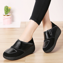 AARDIMI Genuine Leather Women Flat Platform Shoes Woman Casual Flats Slip-On Loafers Autumn Female Large Size Ladies Shoes недорого