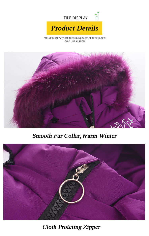 -20 Degree Children Winter Jacket Girl Clothes Cotton-padded Outerwear Kids Warm Thick Fur Collar Hooded Long Cartoon Coats