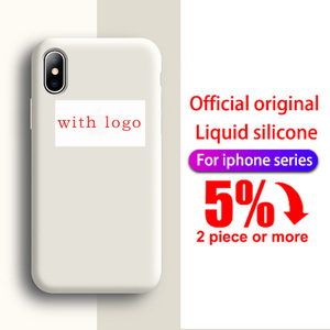 With LOGO Official Silicone Case For iphone 11 Pro X XS MAX XR 7 8 6S 6 Plus phone Case on Apple iphone 7 8 plus X Cover case