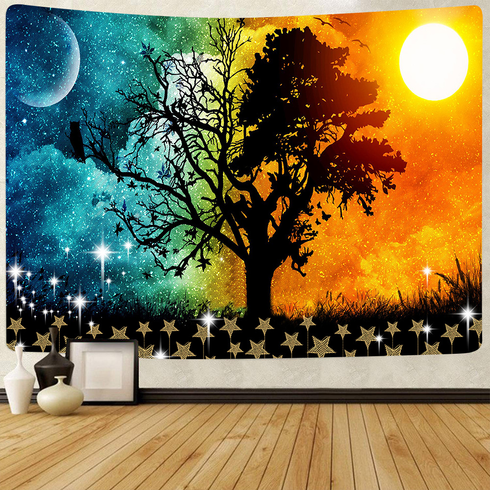 Simsant Tree of Life Tapestry Psychedelic Forest Colorful Tree Galaxy Art Wall Hanging Tapestries for Living Room Home Decor