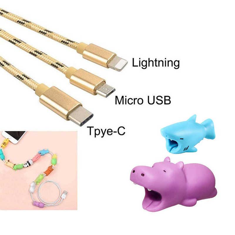 Lindo Animal teléfono soporte Protector de mordida de cables para oso perro Anime divertido Cable Biter teléfono titular Accesorios para teléfono móvil