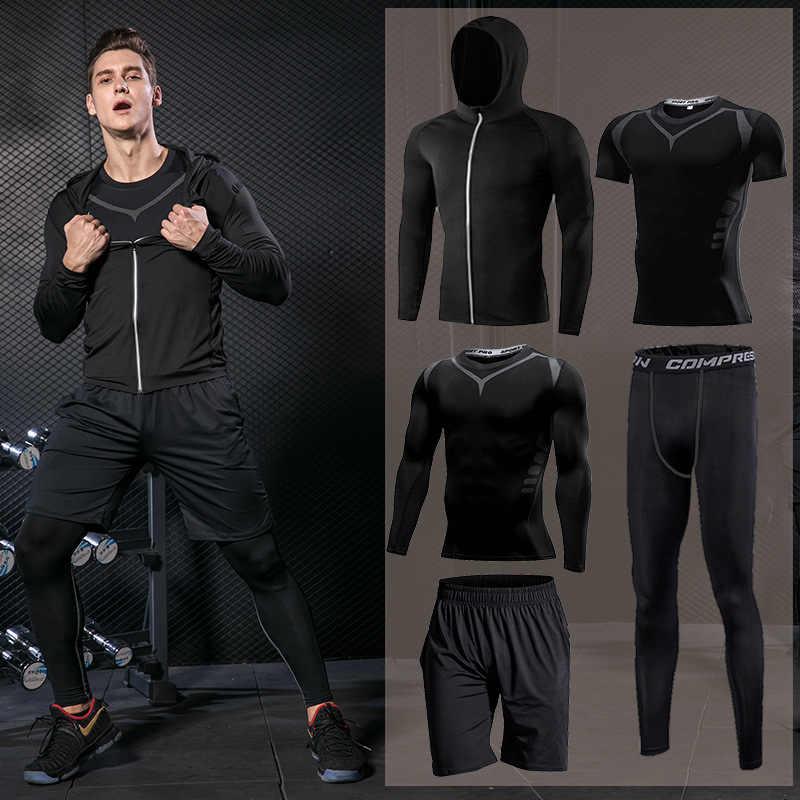 Pria Ketat Pakaian Olahraga Pakaian Olahraga Lari Set Jogging Kompresi Olahraga Pakaian Pelatihan Kebugaran Celana Jaket Latihan Celana Pendek