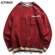 ICPANS Mens Sweaater Pullovers O Neck Striped Front pocket Loose Japanese Style Hip Hop Streetwear Pullover 2019 Autumn Spring