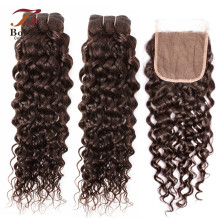 Weave Closure Bobbi-Collection Brown Water-Wave Brazilian 3/4-Bundles Human-Hair Hair-Color