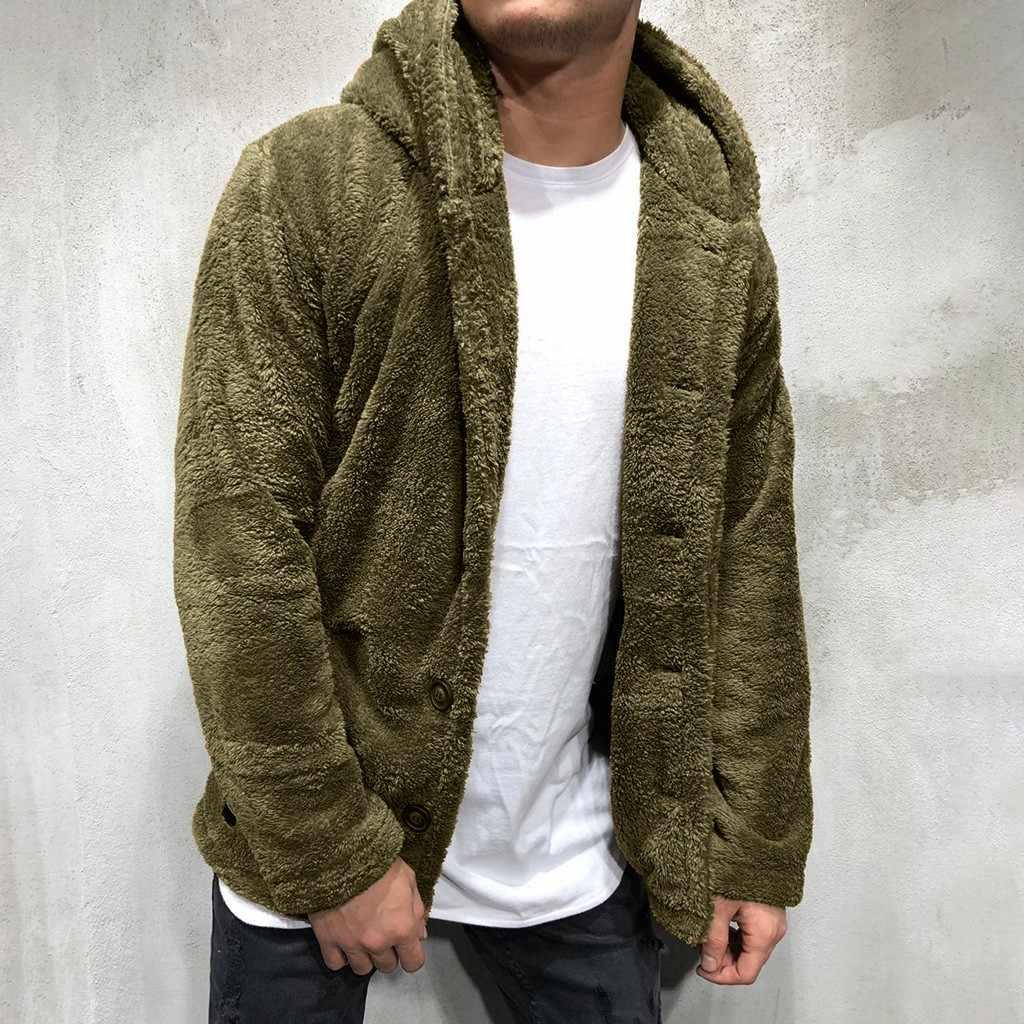 남성 양털 테디 코트 자켓 가을 겨울 솔리드 컬러 카디건 캐주얼 탑 모피 자켓 후드 트랙 수트 아웃웨어 탑 남성