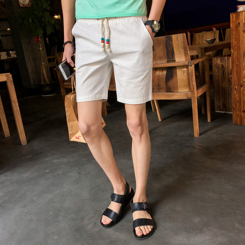 2018 New Style Summer Cotton Linen Linen Pants Male Fifth Pants Teenager Beach Shorts Loose-Fit