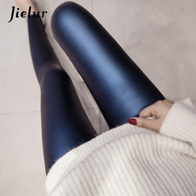 Jielur 2020 Autumn PU Faux Leather Leggings Women 4 Colors Skinny Pants Female Korean Slim Ladies Fleece Pencil Leggins S-3XL 1
