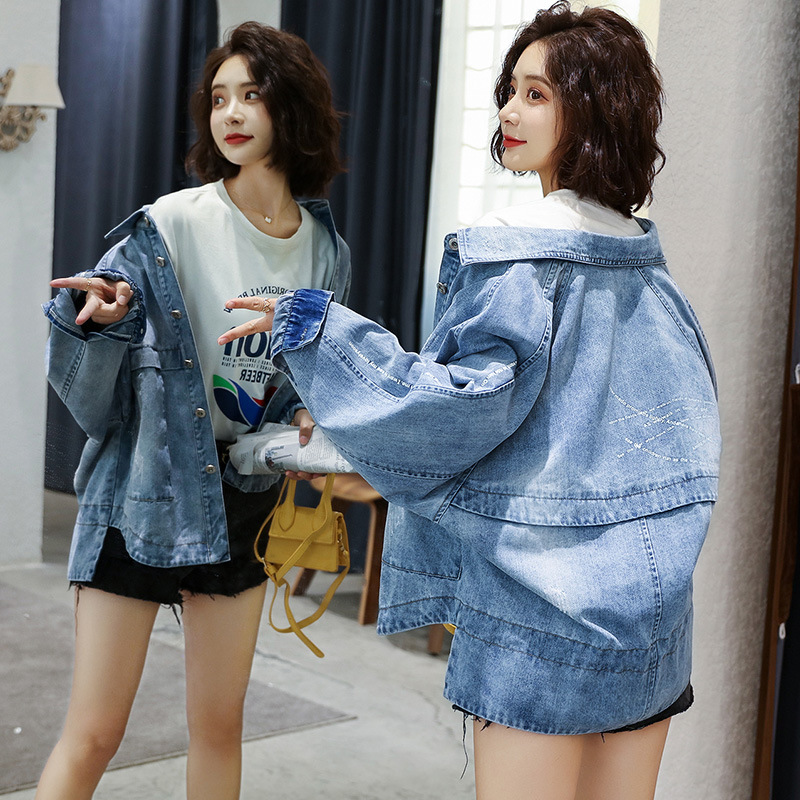 Синяя Куртка Пальто Женская 2019 весна и осень Новый стиль корейский стиль Универсальный Гонконгский стиль ретро BF Студенческая крутая куртк... - 2