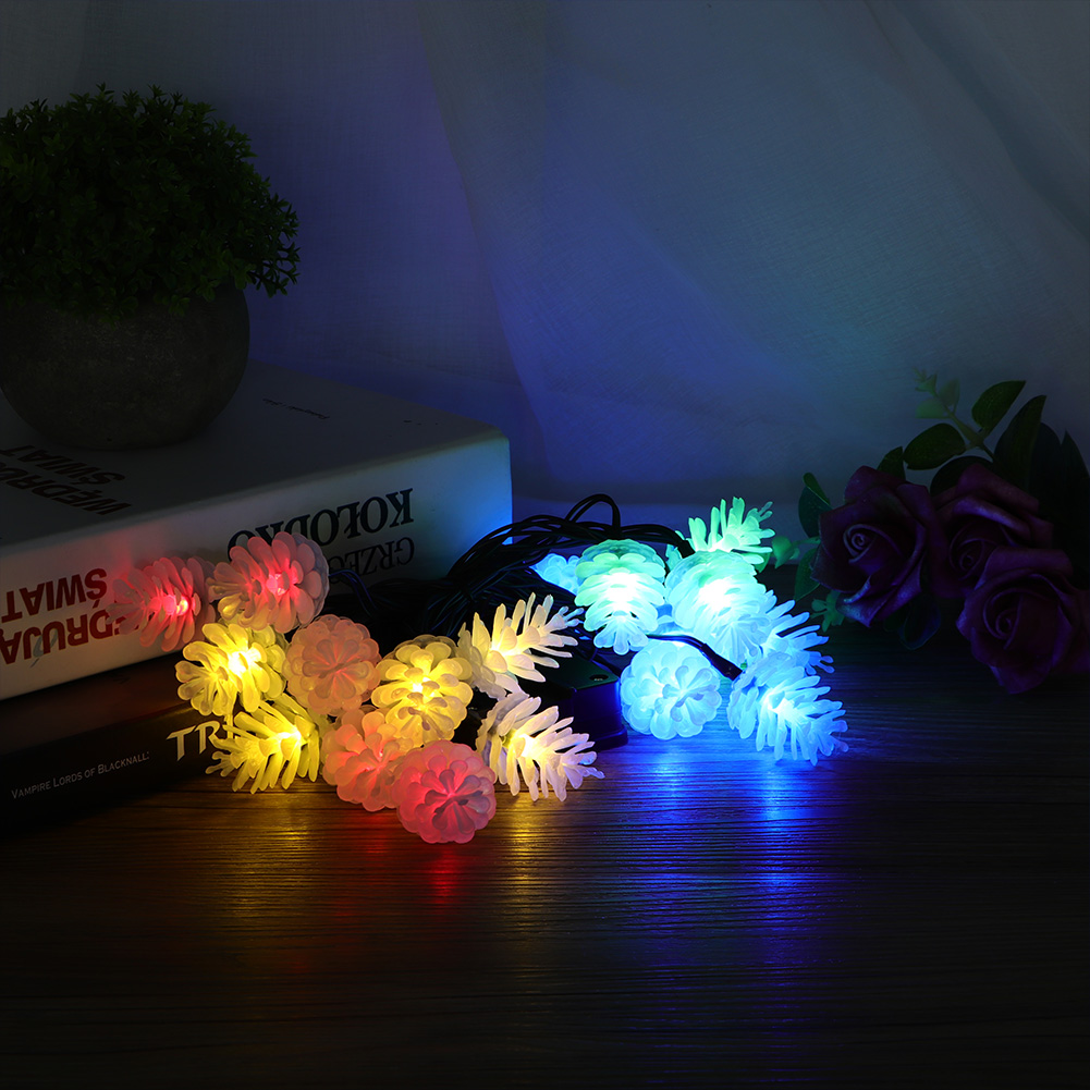 20LED Pinecone Style Solar Powered Waterproof Lights String For Courtyard Garden Christmas Tree Wedding Party Decoration 4.8m