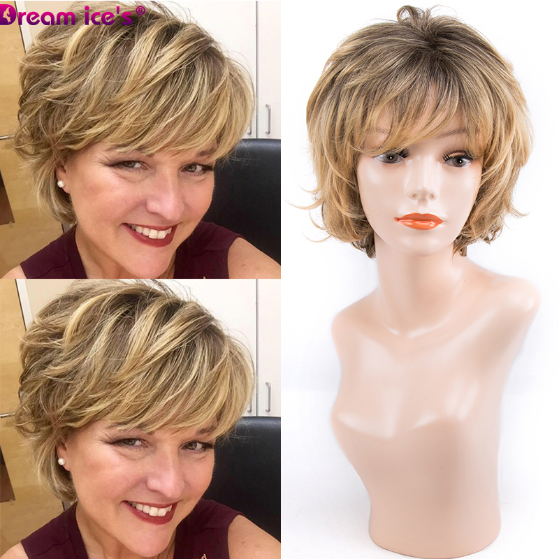Short Synthetic Wig With Bangs Dark Root Ombre Color High Density Natural Headline Heat Resistant Hair Bob Wigs For Women