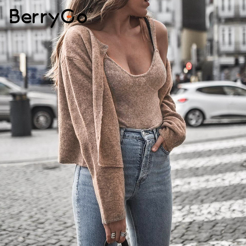 BerryGo Knitted Two Piece Set Spring Cardigans Women Long Sleeve Buttons Cardigan Casual Officework Wear Warm Camis Tops Sweater