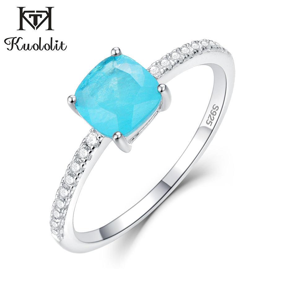 Kuololit Paraiba Tourmaline Gemstone Rings For Women Girls Solid 925 Sterling Silver Emerald Tanzanite Wedding Band Fine Jewelry