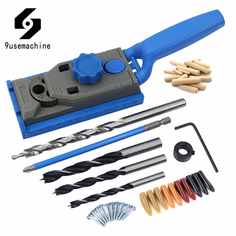 6/8/10/12mm Pocket Hole Doweling Jig Kit Drill Guide Making Straight Inclined Hole Puncher DIY Carpentry Woodworking Tools
