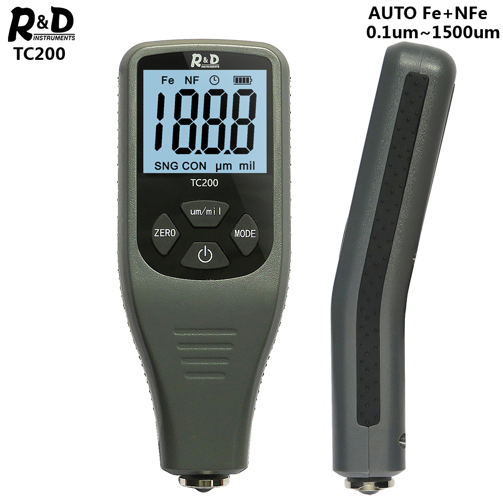 R&D TC200 Coating Thickness Gauge 0.1um/0-1500 Car Paint Film Thickness Tester Measuring FE/NFE Russian Manual Paint Tool Grey