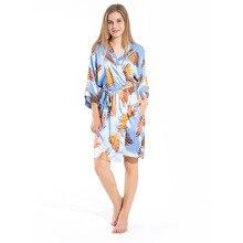 Sanderala Women Tropical Plant Print Robe V Neck Belted Half Sleeve Sleepwear Pocket Satin Dressing Gown Bathrobe Home Pajamas eyes print belted dress