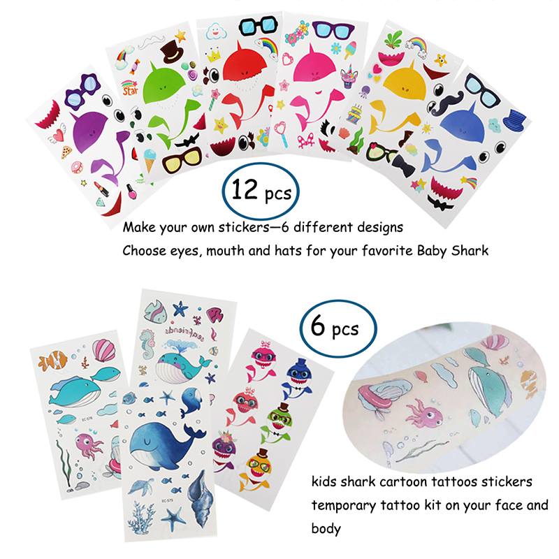 Image 5 - 66pcs shark birthday party favors for kids Gift bags Shark  bracelets Badge Teeth Necklace Stickers Under The Sea Party  SuppliesParty Favors