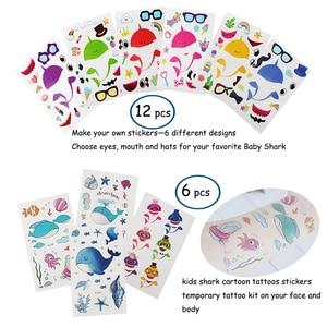 Image 5 - 66pcs shark verjaardag feestartikelen voor kids Gift bags Haai armbanden Badge Tanden Ketting Stickers Onder De Zee Party levert