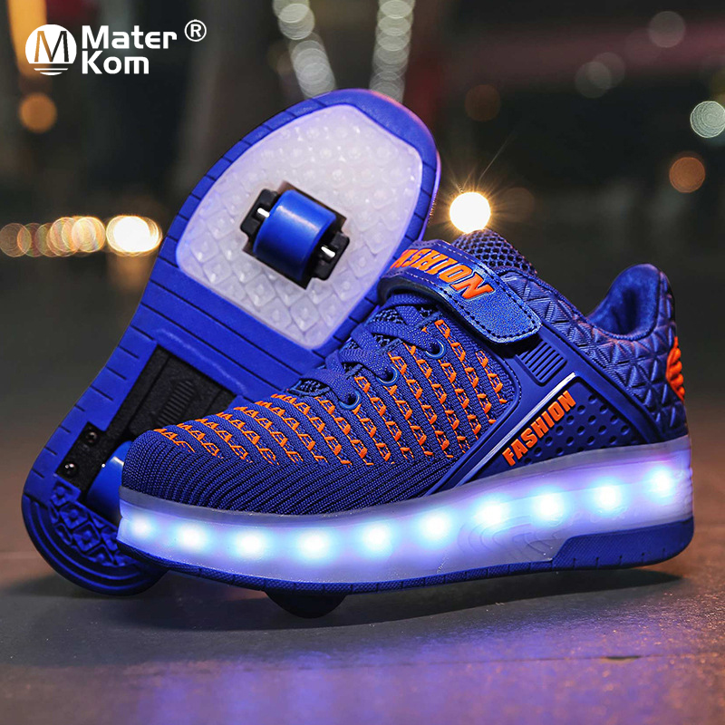 Size 28-40 Glowing Roller Sneakers For Children Girls USB Charged Luminous Sneakers On Double Wheels Kid Boys Skate Shoes Lights