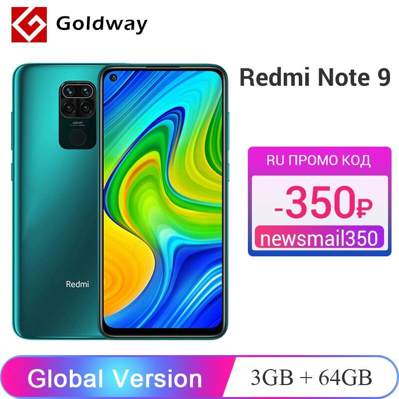 Глобальная версия Xiaomi Redmi Note 9 3 ГБ 64 ГБ / 4 ГБ 128 ГБ Смартфон Helio G85 Восьмиядерный 48Мп Четыре камеры заднего вида 6,53