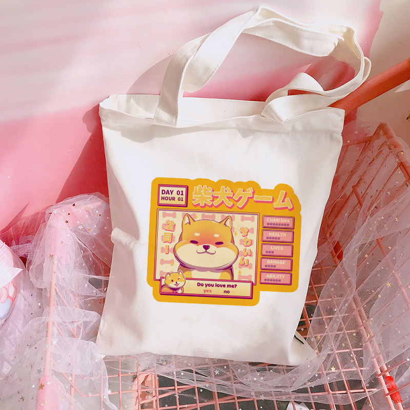 Kawaii Cute Shiba Inu Doge Print Shoulder Bags Shopping Bag Aesthetic Harajuku Canvas Totes Casual Handbag For Women Bookbag
