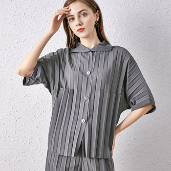 Plus Size Womens Shirt Summer 2020 Turn Down Collar Batwing Sleeves Single Breasted Loose Casual Elastic Miyake Pleated Tops