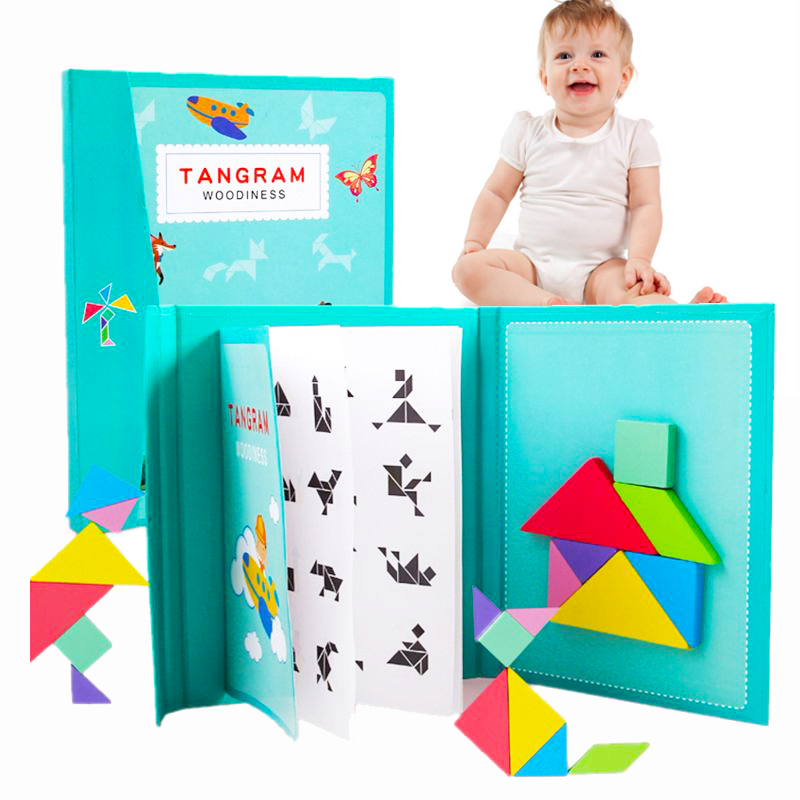 3d Wooden Magnetic Puzzle Jigsaw Tangram Game For Kids Montessori Learning Educational Drawing Board Games Toys For Children