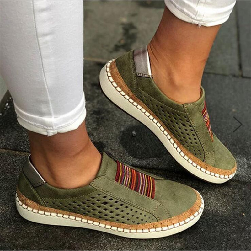 Women Slip on Sneakers Shallow Loafers Vulcanized Shoes Breathable Hollow Out Female Casual Shoes Ladies Leather Flats