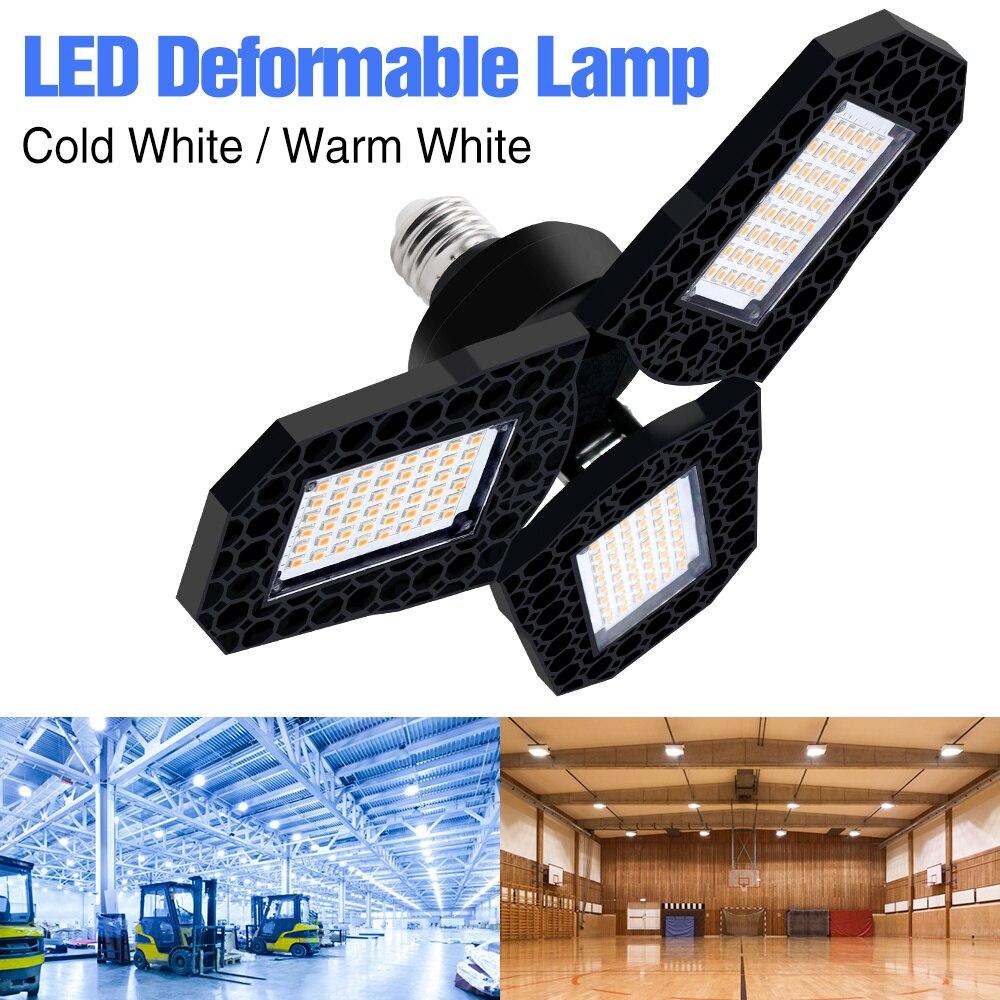 Deformable Lamp 110V Lampara LED E27 80W 60W 40W LED Bulb Garage Light LED Lamp 220V High Bay Light Factory Warehouse Lighting
