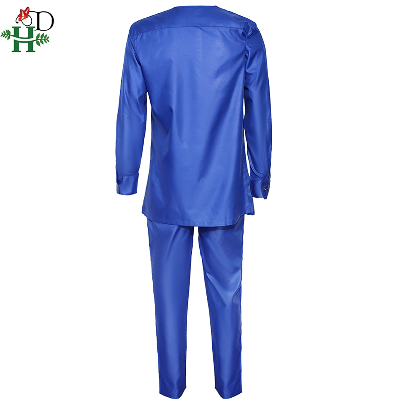H&D Men's Dashiki Shirt Pants Suit Plus Size Men African Clothes Long Sleeve Top With Trouser Set 2PC Outfit Embroidery Attire 4