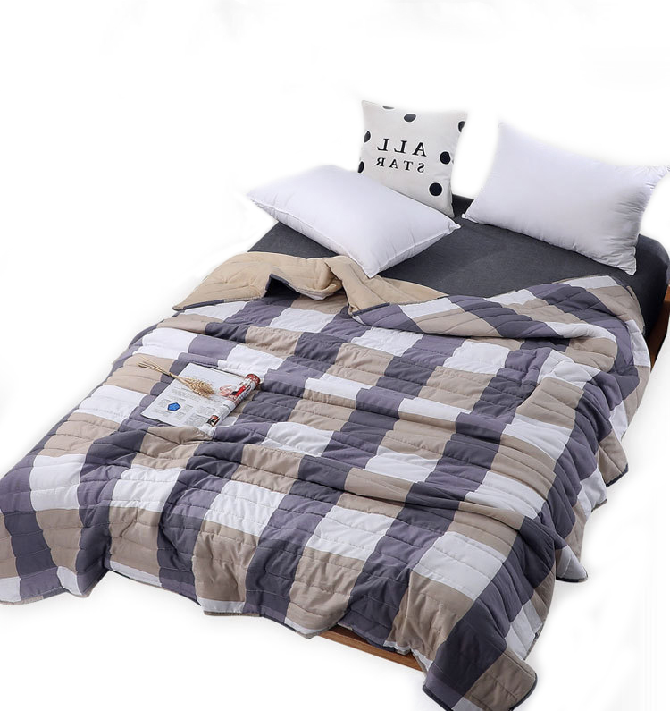 Plaid Air Conditioning Throw Blanket Summer Cotton Thin Blankets for Beds Office Sofa Towel Quilt Good Quality Tv Blanket-3