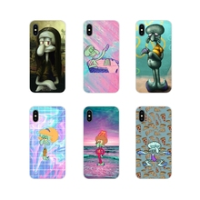 For Apple iPhone X XR XS 11Pro MAX 4S 5S 5C SE 6S 7 8 Plus ipod touch 5 6 Transparent Soft Case Cute cartoon Squidward Tentacles