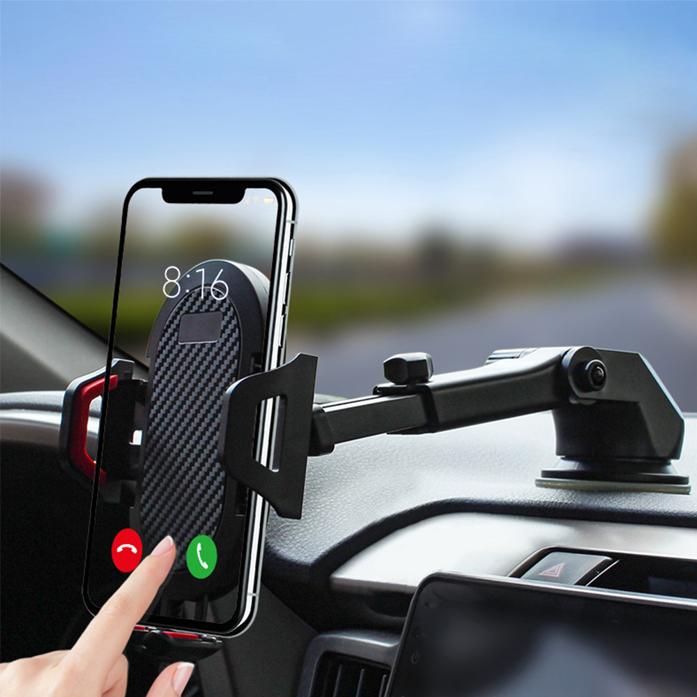 ANKNDO Suction Cup Car Phone Holder In Car Glass Desk Mobile Holder Scalable Stand Large Screen Smartphone GPS Auto Bracket