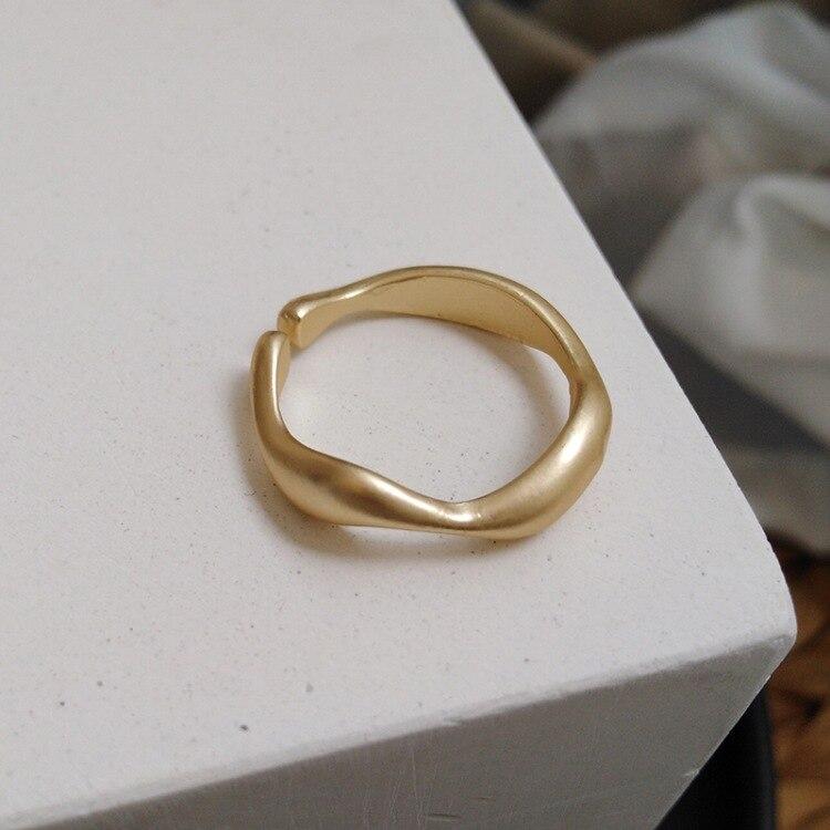 Минималистичное геометрическое матовое металлическое Открытое кольцо неправильной формы в форме волны для женщин Подарки для вечерние ре...