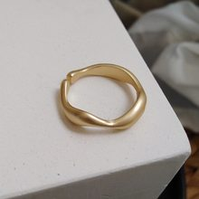 Minimalista geométrica irregular onda matte metal abertura anel para presentes femininos festa ajustável dedo na moda jóias presentes