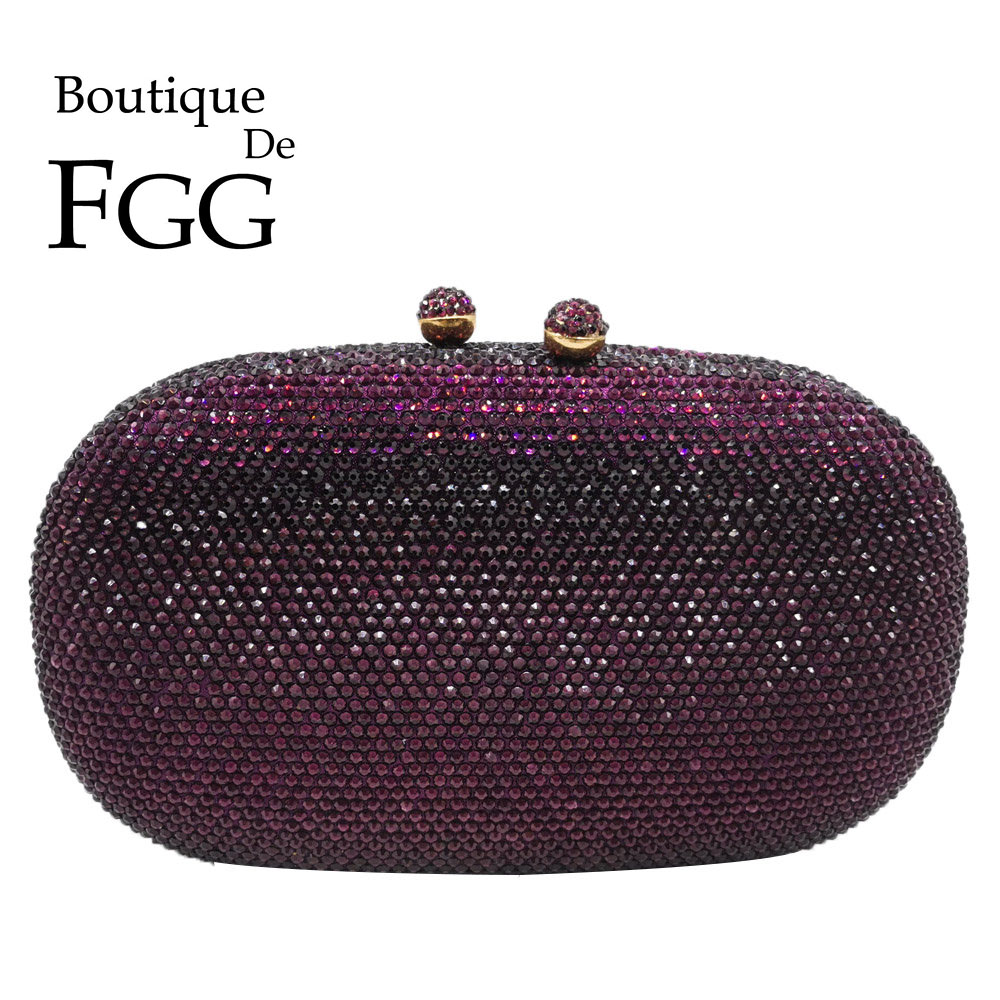Boutique De FGG Elegant Diamond Women Purple Evening Bags Bridal Wedding Formal Dinner Crystal Clutch Purses And Handbags