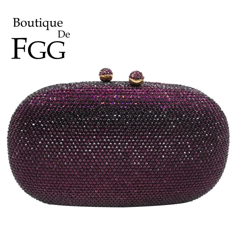 Boutique De FGG Elegant Diamond Women Purple Evening Bags Bridal Wedding Formal Dinner Crystal Clutch Purses And Handbags