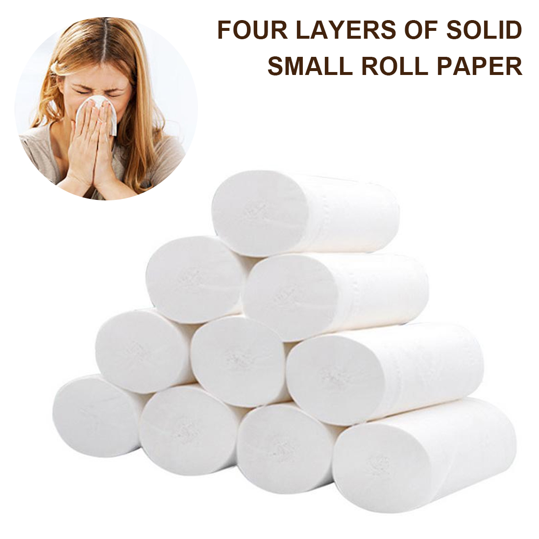10 Rolls/Lot Toilet Roll Paper 4 Layer Primary Wood Pulp Home Bath Tissue Roll Household Soft Toilet Towels For Home Public Hote
