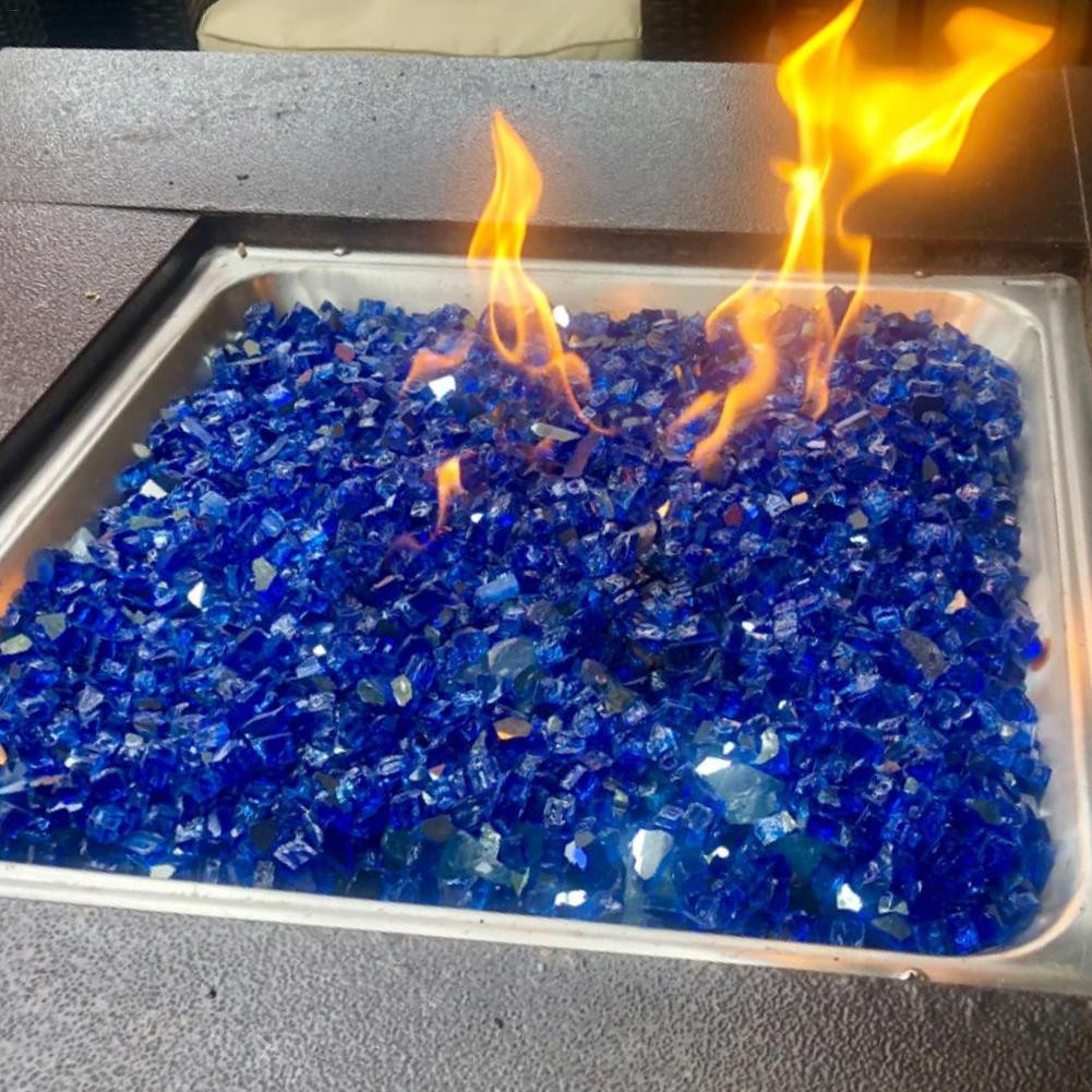 1 Bag Of Decorative Glass Home Deep Blue Mirror Coated Tempered Glass Granules Reflective Fireproof Glass Furnace Fire Pit Rocks