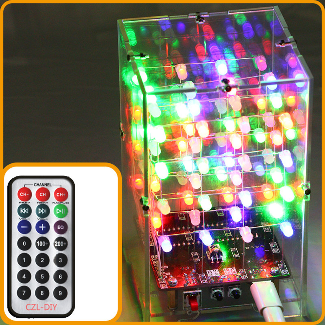 DIY Welding Electronic Bulk Parts Music Light Education Kit(Remote Control, 7 Colours Changing, USB Power Supply, With Shell)