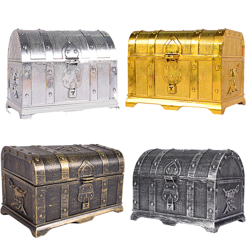 Pirate Treasure Box Children's Treaed Antique Plastic Large Treasure Box Toys Children's Role-playing Props, Game Props