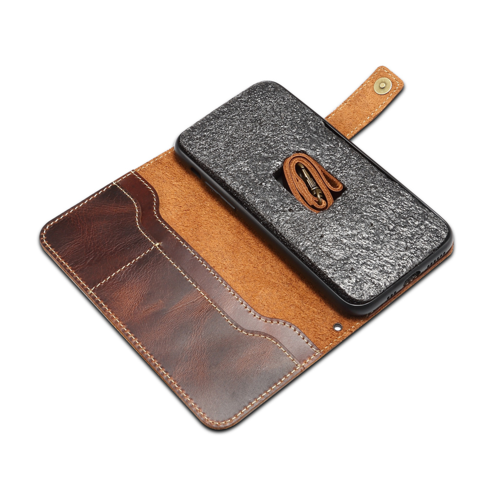 Premium Leather Magnet Button Flip Strap Case for iPhone 11/11 Pro/11 Pro Max 68