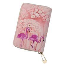 HaoYun Fashion Women Business PU Card Holder Flower Flamingo Printing Pattern Girls Money Purse Bag Cartoon Animal Cluth Wallets