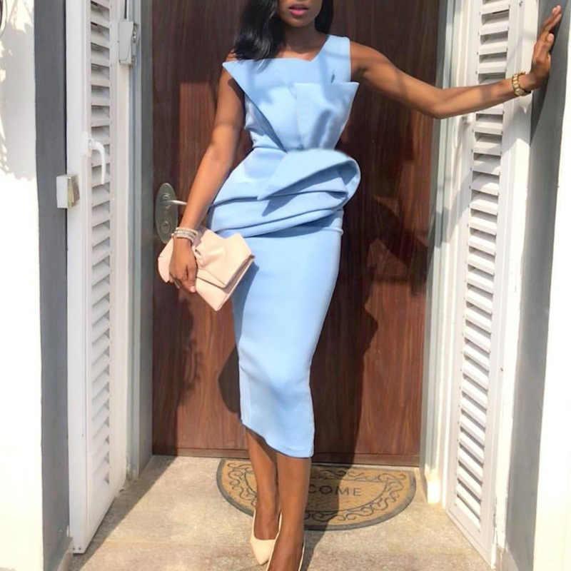 Синие вечерние платья миди без рукавов, Пеплум с оборками для женщин, платья-карандаш для мероприятий, праздников, праздников