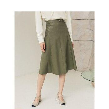 INMAN 2020, Весенняя офисная ретро-юбка, Новое поступление, однотонная, из искусственной кожи, трапециевидная, до колена